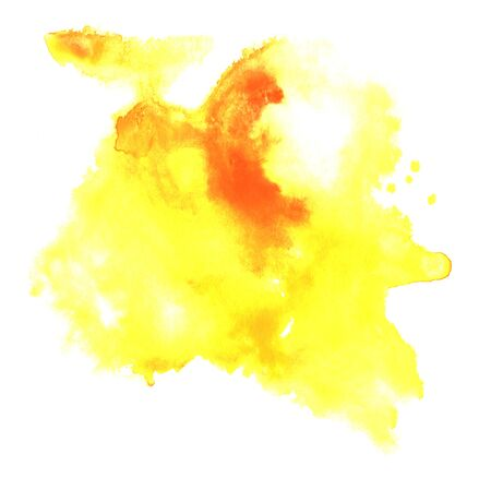 Abstract watercolor hand drawn art. Shapeless stain of yellow liquid paint of different shades from light yellow to saturate orange on white background. Brush stroke paper template illustration.