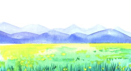Abstract watercolor hand drawn landscape background. Blurred yellow spots of flowers on green meadow in front of blue obscure mountain chain. Brush stroke perspective illustration on paper texture. Imagens