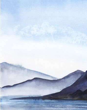 Abstract watercolor landscape. High mountains in a light haze. A lake, river or sea with a smooth water surface. Light blue sky. Hand-drawn watercolor illustration
