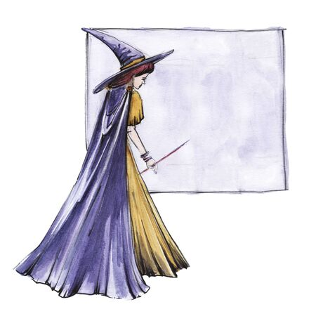 Young witch in long purple cloak and pointed hat. Magnificent folds of mantle fall to floor. Bright frame with lilac background. Hand-drawn watercolor sketch illustration. Isolated on white background