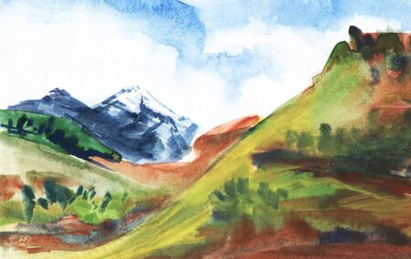 Mountain landscape. Green mountains covered with grass, distant cliffs covered with snow. Hand drawn watercolor illustration. Imagens