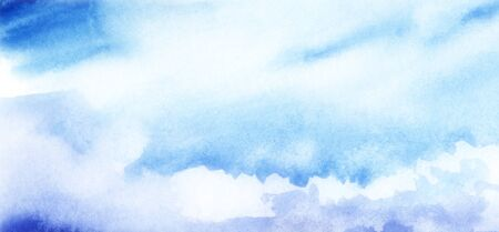 Blue sky with cumulus white clouds. Abstract watercolor background with blur effect. Hand drawn illustration on texture paper. Imagens