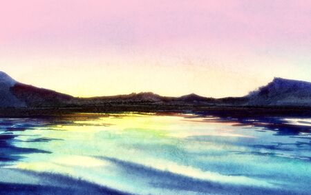 Serene watercolor landscape. Fairy view of dark outlines of mountains and glittering surface of water reflecting gentle gradient pink sky. Blurred post processed background. Hand drawn illustration.
