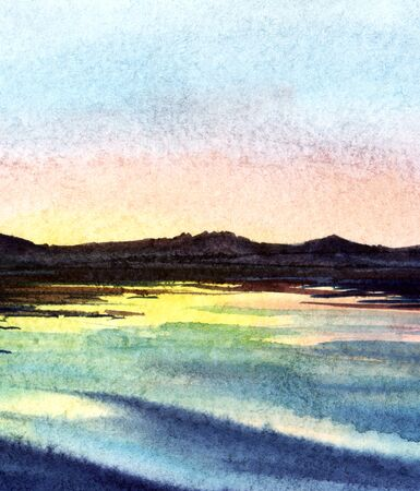 Watercolor landscape. Serene view of dark outlines of mountain chain and calm water surface reflecting tender gradient sunset sky of blue and pink shades. Blurred background. Hand drawn illustration. Reklamní fotografie