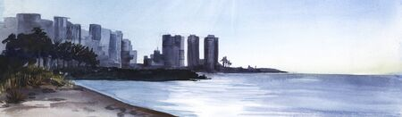 Large coastal city with palm trees and high hotels. View across the bay. Sunny day on the mediterranean sea. Sandy coast. Silhouette of buildings. Calm water. Light sky watercolor illustration