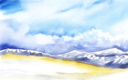 Landscape pastel colors. Yellow Valley, purple mountains with white snow peaks. Blue sky cumulus white clouds Abstract watercolor background with blur effect. Hand drawn illustration on texture paper.