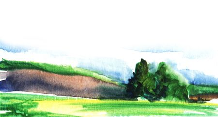 Simple landscape. Green field and hills. Group of trees, blue sky and clouds. Hand drawn watercolor illustration. Integrated in white background. Page template.