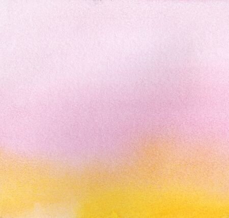 Abstract watercolor background. A smooth gradient from pink-violet to yellow. Hand drawn on paper with texture illustration