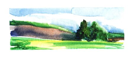 Simple landscape. Green field and hills. Group of trees, blue sky and clouds. Hand drawn watercolor illustration. Long banner format