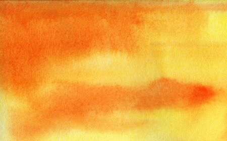 Abstract watercolor background. Gradient fill on wet yellow and orange colors. Smooth transition. Sunset orange sky. Autumn textural background. Tinted watercolor paper. Hand drawn illustration.