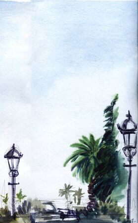 Street promenade in a tropical city. Green palm trees, old-style lanterns, blue sky. Sketchy background illustration. Hand-drawn watercolor on texture paper.