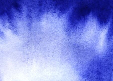 Abstract watercolor background. Monochrome gradient fill with granulation effect. Saturated ultramarine. One color. Hand-drawn on texture paper