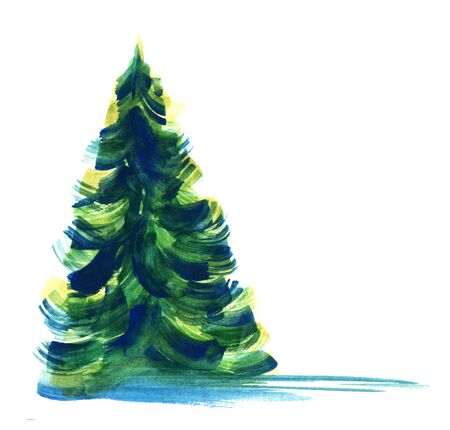 Green fir-tree isolated on white background. Watercolor hand drawn image of coniferous tree painted with large brush strokes of blue, green and yellow colors. Abstract botanic illustration.