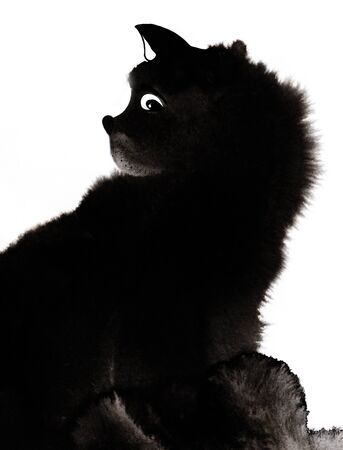 Black fluffy cat with curiosity in its eyes and wary ears sticking out. Watercolor image isolated on white background. Abstract hand drawn illustration with wet ink effect.