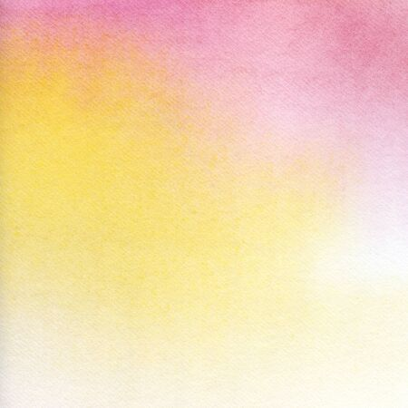 Abstract watercolor background. Texture of nice paper tinted by a delicate pink-yellow gradient. Ombre pastel tones. Smooth color transition. Hand-drawn on paper illustration.