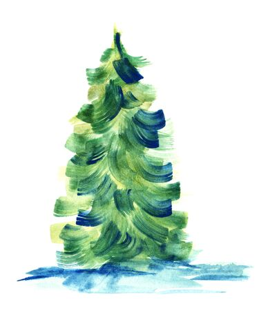 Green fir-tree isolated on white background. Watercolor hand drawn image of coniferous tree painted with large brush strokes of delicate green and yellow colors. Abstract botanic illustration.