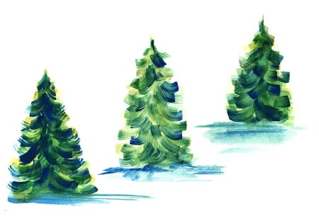 Chain of three fir trees casting blue shadows isolated on white background. Watercolor hand drawn image of coniferous trees painted with large brush strokes of blue, green and yellow.