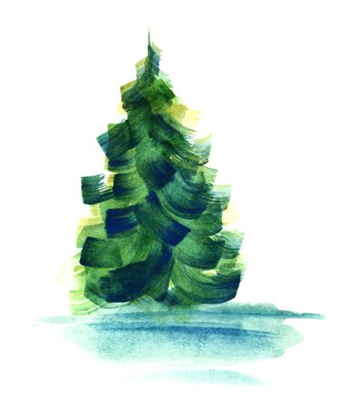 Abstract green fir-tree without strict shape isolated on white background. Watercolor hand drawn image of coniferous tree painted with large brush strokes of blue, green and yellow colors.