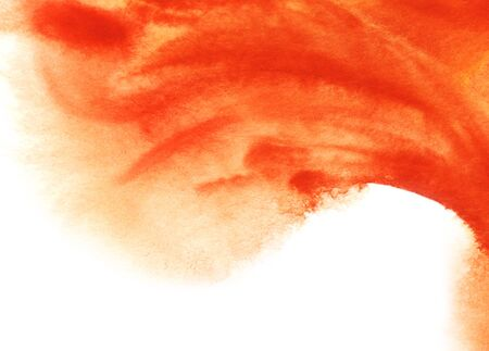Abstract watercolor background. Right corner upper half Smooth spots of orange dissolve in the background. Brush strokes. The gradient from saturated red to white. Hand drawn watercolor illustration.