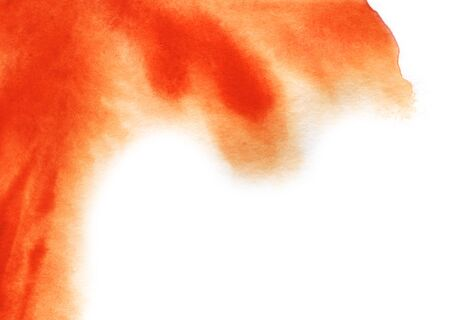 Abstract watercolor background. Smooth spots of orange dissolve in the background. The gradient from saturated red to white. Hand drawn watercolor illustration.