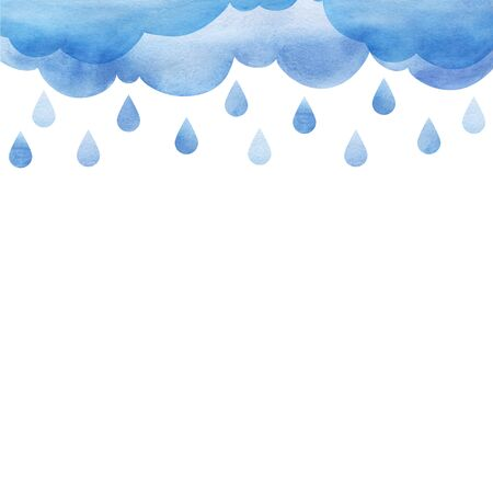 Overcast and rain. Blue rainy clouds. Background cutout cumulus clouds with paper texture. Large raindrops. Layers of clouds. Watercolor fill. Page border template. Isolated on a white background.