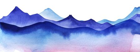 Silhouette of watercolor mountains. Colored Light and bright blue mountain ranges. Decorative element page design. Gradient from dark to pale Mountain border. Hand drawn illustration on texture paper.