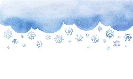Snowing. Large snowflakes are falling. cutout background template with winter sky. Large flakes of snow. Big lught watercolor gradiented fill blue cloud. Page border template. Isolated on white.