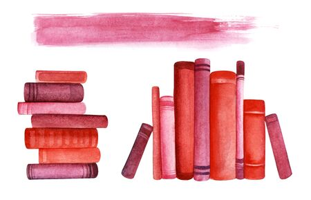 Red books. Roots on bookshelf. Three decorative elements. A stack of seven books. Nine books in row. Background line for headline. Hand drawn watercolor illustration. Isolated on a white background. Stok Fotoğraf