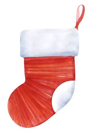 Striped christmas sock on the petal ribbon. Red sock with a white lapel. Sock on the fireplace for sweets. Shades of red. Hand drawn illustration isolated on white background. Stok Fotoğraf