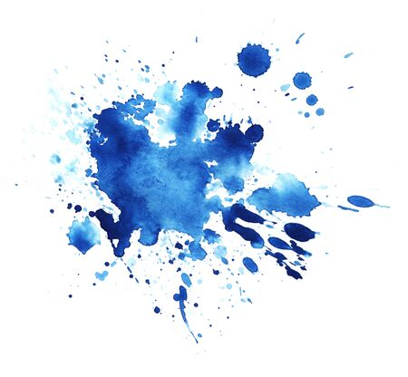 Abstract graphic element. The splattered spot is saturated with blue paint. Blot on a white background. Watercolor ink stain. A lot of spray.