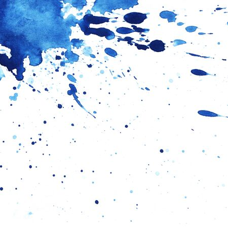 Abstract watercolor background. in left top corner splattered spot saturated with blue paint. Blot on a white background. Watercolor ink stain. A lot of spray.