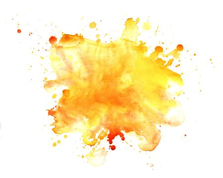 Abstract watercolor background. Graphic element in warm colors. splattered stain is saturated yellow and red paint. Blot on white background. Watercolor ink stain. A lot of spray. Autumn background.