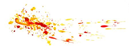 Abstract graphic element. The splattered stain is saturated yellow and red paint. Blot on a white background. Watercolor ink stain. A lot of spray.