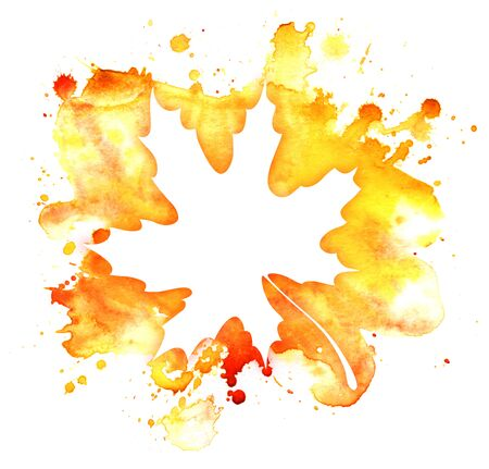 Abstract watercolor background. Graphic element warm colors. White maple leaf shape on gradient spot yellow and red paint. Blot. ink stain. A lot of spray. Autumn inspiration. empty space for text.
