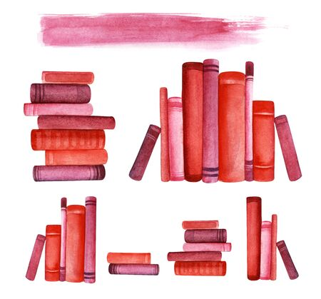 Red books. Roots on a bookshelf. Seven decorative element. Piles of books. books in a row. Background line for headline. Hand drawn watercolor illustration. Isolated on a white background.