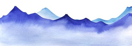 Silhouette of watercolor mountains. Light and bright blue mountain ranges. Decorative element for page design. gradient from dark to pale. Mountain border. Hand drawn illustration on texture paper Stok Fotoğraf