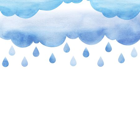 Overcast and rain. Blue rainy clouds. Background cutout cumulus clouds with paper texture. Large raindrops. Layers of clouds. Watercolor fill. Page border template. Isolated on a white background Stok Fotoğraf