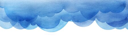 Cartoon sky of blue cumulus clouds. Illustration. Collage of watercolor gradient fill. Abstract sky. Border page template. Hand drawn isolated on white