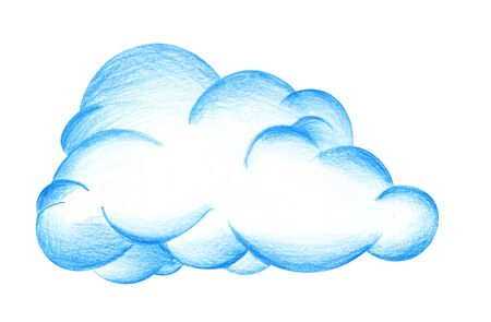 Large magnificent blue cumulus cloud. Hand-drawn pencil illustration on a white background