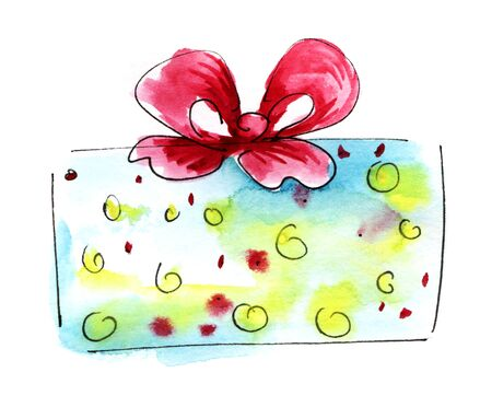 Watercolor graphic element. Light blue yellow dots Gift box with a magnificent bow. Hand drawn on paper sketch illustration