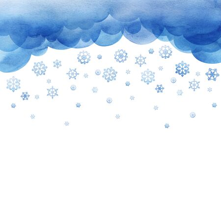 Snowing. Large snowflakes are falling. cutout background template with winter sky. Large flakes of snow.Layers of clouds. Watercolor fill. Page border template. Isolated on a white background