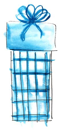 Watercolor graphic element. Blue checkered gift box with a lush bow. Hand drawn on paper sketch illustration 版權商用圖片