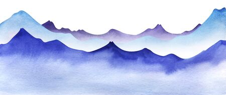 Silhouette of watercolor mountains. Layered Light, violet and bright blue mountain ranges. Decorative border element for page design. Gradient from dark to pale. Hand drawn illustration Stok Fotoğraf