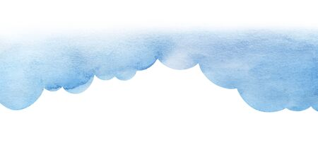 Cartoon blue cumulus cloud illustration. Cloud shaped background. Watercolor fill gradient from pale to saturated from bright to light. Abstract sky. Border page template Hand drawn isolated on white Stok Fotoğraf