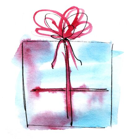 Watercolor graphic element. Light blue gift box with a lush bow. Hand drawn on paper sketch illustration