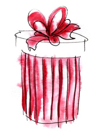Watercolor graphic element. red striped round gift box with a magnificent bow. Hand drawn on paper sketch illustration