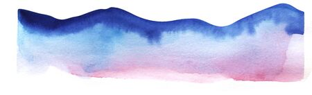 Watercolor mountains. Silhouette of mountain range. Decorative element for page design. Blue mountains with smooth peaks. Gradient dark blue to pale pink. Mountain border. Hand-drawn on texture paper