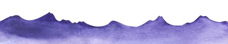 Watercolor mountains. Shape gentle hills and sharp mountain peaks. Decorative element for page design. The purple gradient is dark to pale. Silhouette mountain border. Hand drawn illustration