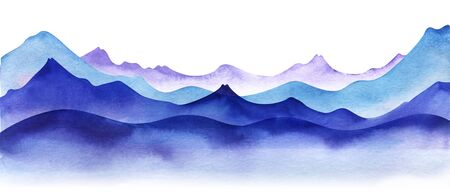 Silhouette of watercolor mountains. Layered Light, violet and bright blue mountain ranges. Decorative border element for page design. Gradient from dark to pale. Hand drawn illustration.