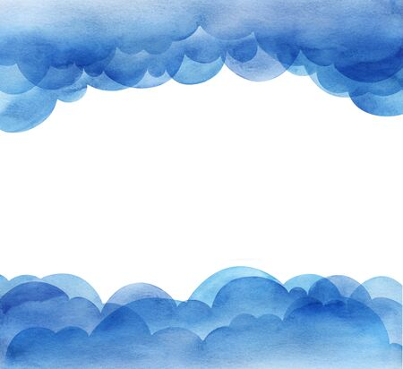 Page Design Template. Cartoon sky of blue cumulus clouds. Illustration. Collage of watercolor gradient fill. Layout with upper and lower borders. Hand drawn isolated on white. Banco de Imagens
